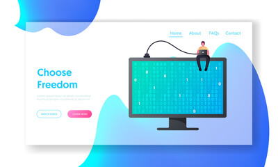 Programmer Coding or Encrypt Information, Online Security Landing Page Template. Tiny Male Character with Laptop Sit on Huge Computer Monitor with Binary Code on Screen. Cartoon Vector Illustration