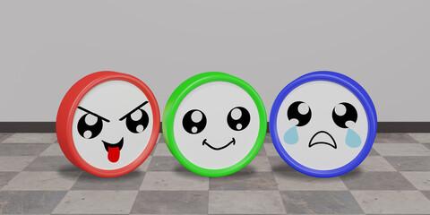 drei bunte Emoticons in frecher, lustiger und trauriger Stimmung mit Hintergrund.