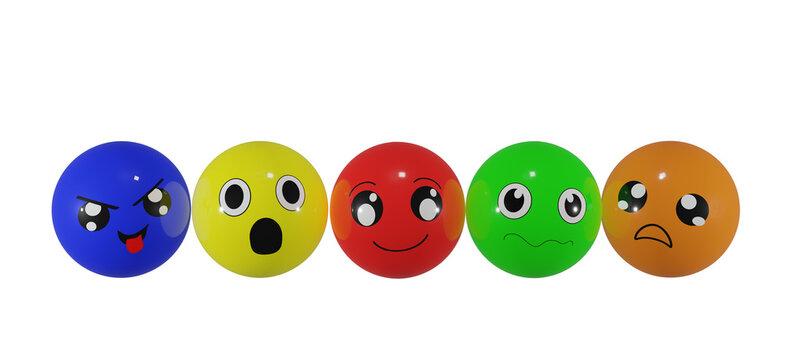 Bunte Emoticons in verschiedenen Stimmungen auf weiß isoliert. 3d rendering