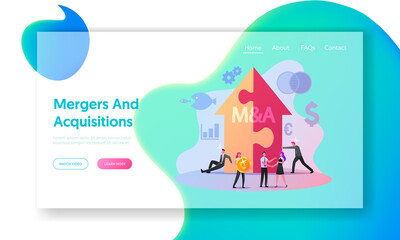 Merger and Acquisition Landing Page Template. Characters at Huge Arrow made of Puzzle Pieces, Business People Shaking Hands Finishing Up Meeting, Etiquette, Congratulation. Cartoon Vector Illustration