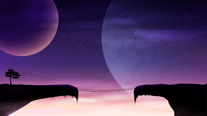 Photo sur Toile Violet A rope bridge between two mountain cliffs on the background of huge planets. Space landscape on a new planet