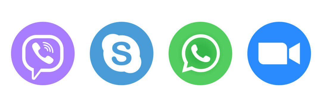 Viber, Skype, WhatsApp and Zoom - popular messengers, video chat and voice calls, internet service. Application for video communications. Kyiv, Ukraine - June 28, 2020