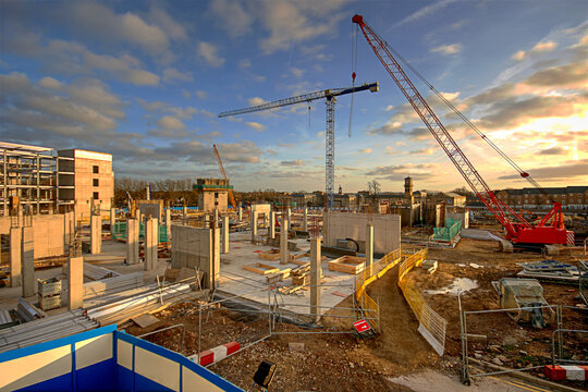 Large construction site of a new hospital being built