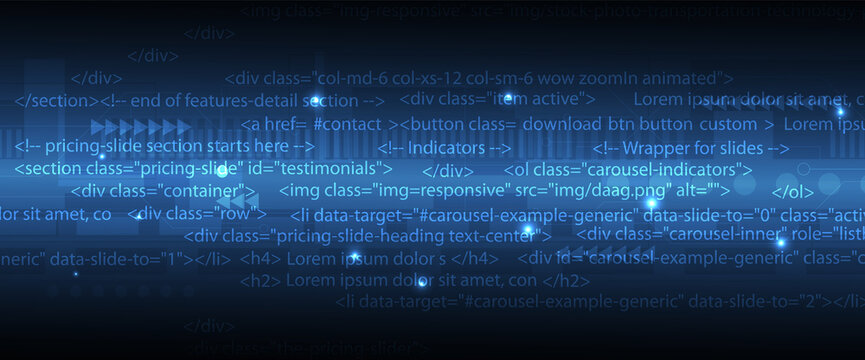 Software development abstract technology code and script background
