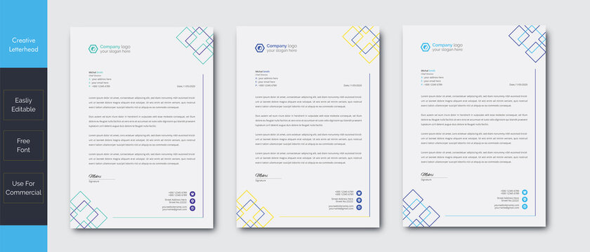 Modern Creative & Clean business style letterhead of your corporate project design.set to print with vector & illustration