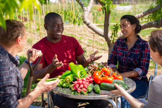 Good friends have conversation at table in backyard of village house