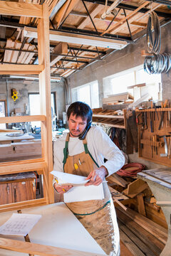 male woodworker in his woodworking shop