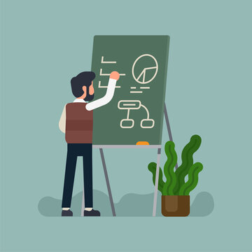 Cool vector concept illustration on businessman working on business strategy. Male teacher character writes down information on chalkboard