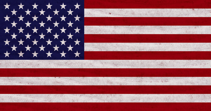 Stars and stripes distressed American flag with textured material background