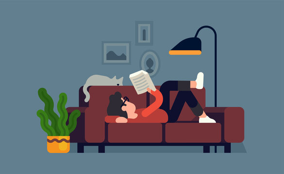 Man relaxing on couch with a good book. Cool vector flat character design on reading with abstract male character lying on sofa at home with a cat sleeping next to him