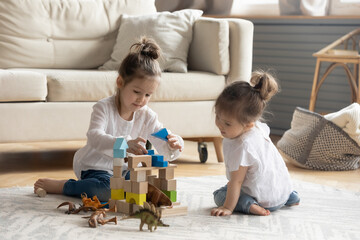 Two cute little girls sisters playing with toys, colorful wooden blocks, building tower, sitting on...