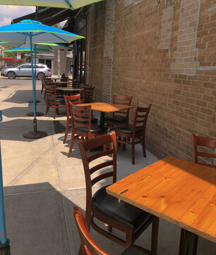 New York Food Restaurant Businesses Open for Customer Dining Outdoors After Covid Shutdown