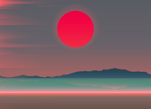 Aesthetic beach scene landscape with big red sunset and light leak overlay, soft cool pastel gradient summer vibe