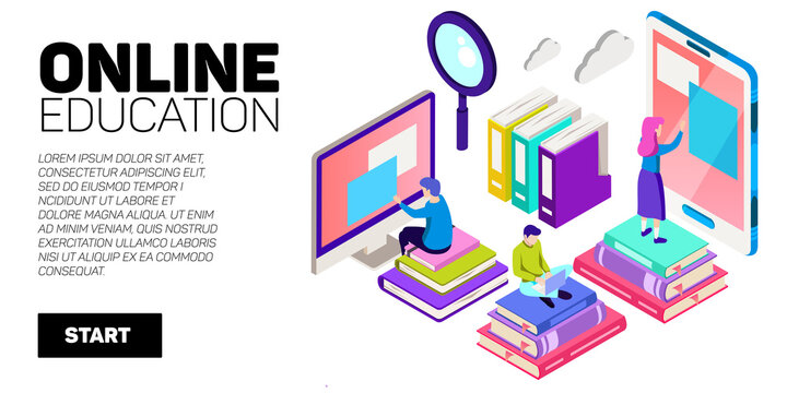 Isometric vector banner. Online education, learning, distant courses. School, college, unversity.