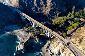 Bixby Creek Bridge Big Sur Central Coast California afternoon haze fall day Pacific Coast Highway PCH