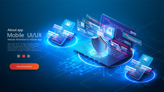 The concept of personal data security on the Internet illustrates cyber information or information privacy. Blue futuristic laptop, phone  protection data and confidentiality, Internet technology. 3D