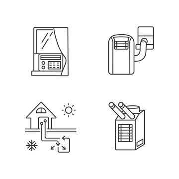 Home conditioning linear icons set. Geothermal system. Spot cooler, window air and portable conditioner ustomizable thin line contour symbols. Isolated vector outline illustrations. Editable stroke