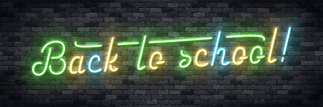 Vector realistic isolated neon sign of Back To School frame logo for template decoration and invitation covering on the wall background. Concept of education.
