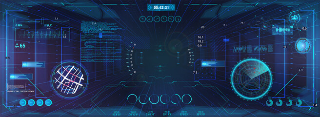 Virtual cyberspace for game with HUD and GUI interface graphic design. Sci-Fi virtual reality view from helmet. HUD and cyberpunk VR sight, radar, map navigation and other interface elements. Vector
