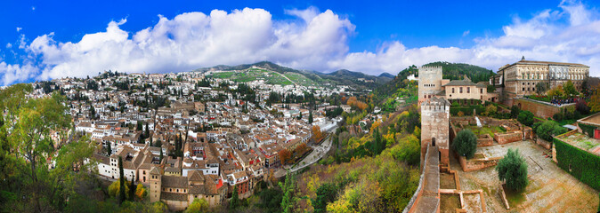 Travel and landmarks of Spain in Andalusia - cityscape of Granada old town and splendid Alhambra complex