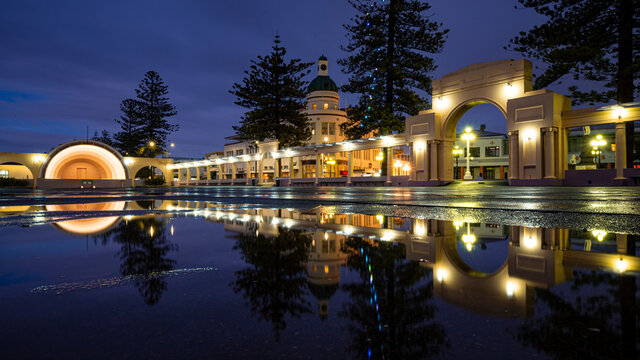 Morning reflection of Napier's Art Deco colonnade and Sound Shell, New Zealand