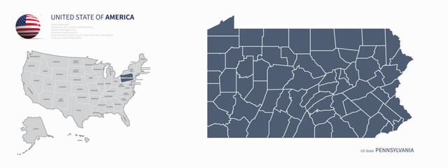 pennsylvania map. u.s. states vector map of pennsylvania. us states map.