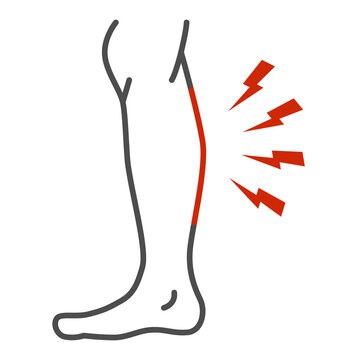 Shin hurts thin line icon, Body pain concept, Shin pain sign on white background, leg injured in shin area icon in outline style for mobile concept and web design. Vector graphics.