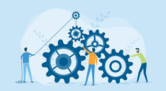 Flat vector illustration design Business process and business team working concept