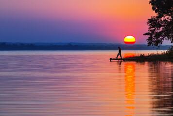 Printed kitchen splashbacks Coral Lake on sunset