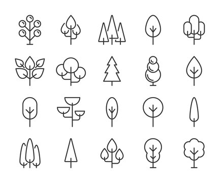 Tree icons. Tree and forest line icon set. Vector illustration. Editable stroke.