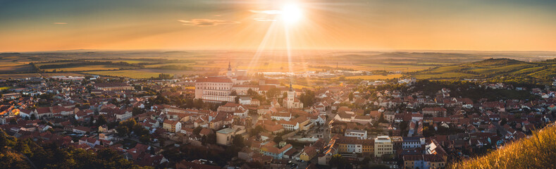 Overlooking beautiful Mikulov castle, Chateau  from Saint Hill while sunset. Wine region. South Moravia, Czech Republic.