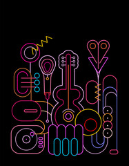 Photo Blinds Abstract Art Neon colors isolated on a black background Music Instruments Design vector illustration. Line art silhouettes of guitar, saxophone, piano keyboard, trumpet, microphone and gramophone.
