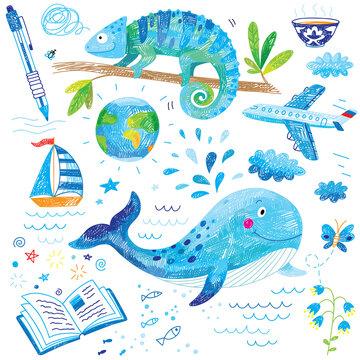 cute kids hand drawn blue doodles
