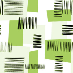 Green white and black abstract modern art geometric collage seamless pattern. Contemporary art seamless geometric block shapes background. Abstract modern art design for fabric, fashion, wallpaper