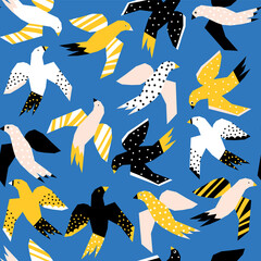 Abstract Flying birds papercut style seamless vector pattern. Repeating background without Scandinavian birds blue yellow pink black white.
