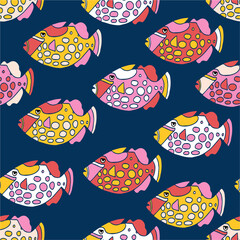 Fishes seamless vector pattern. Colorful ocean animal background for kids. Pink red white yellow exotic tropical clown trigger fishes.