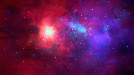 Fotorolgordijn Violet Space background. Colorful nebula with star field. Elements furnished by NASA. 3D rendering