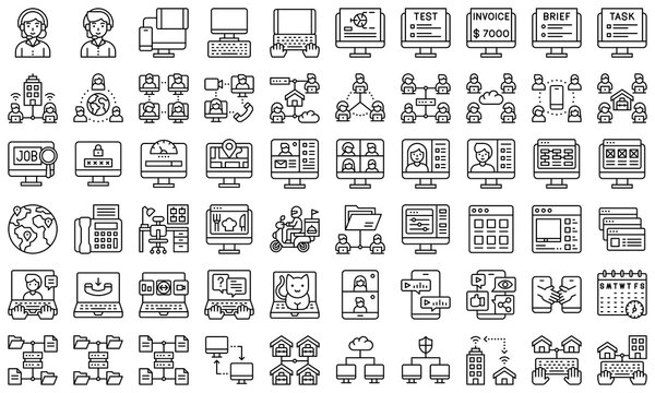 Telecommuting or remote work line icon set, vector illustration