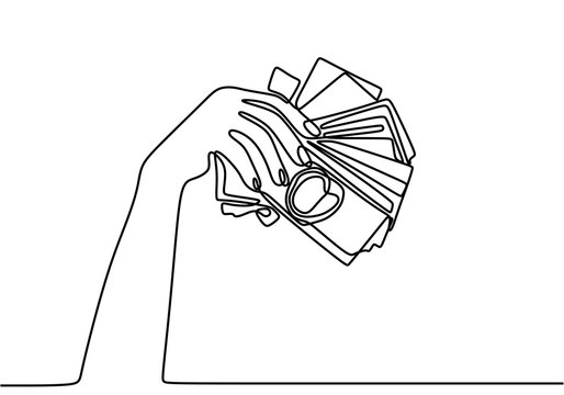 Continuous line drawing of hands holding piles of money banknotes. Human hand with banknotes hand draw minimalism style. Payment with money, buying or purchase of goods. Vector continuous line