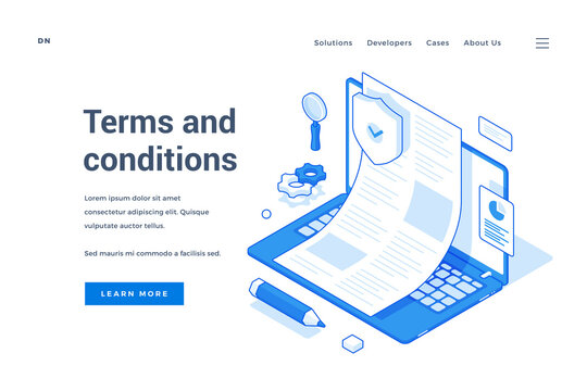 Modern banner representing website terms and conditions
