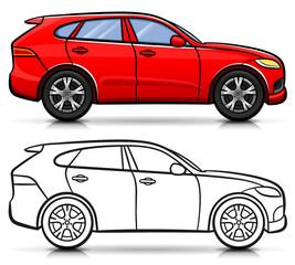 Vector suv car cartoon isolated