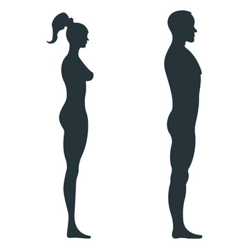 Male and female human character, people man woman view side body silhouette, isolated on white, flat vector illustration. Black people scale concept.
