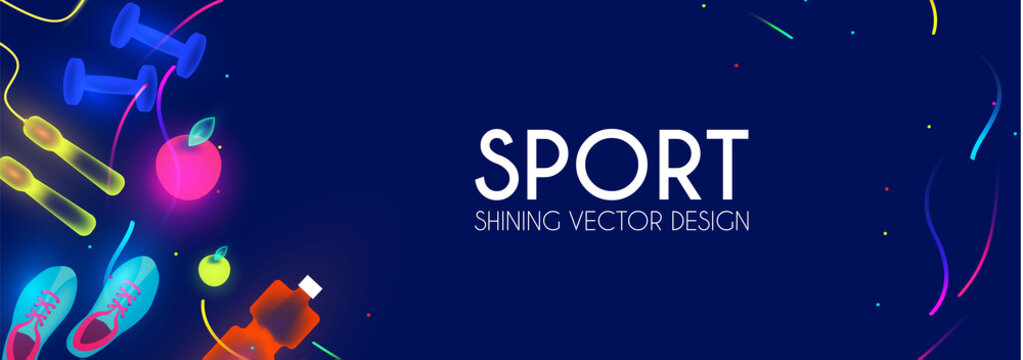 Sport and fitness shining background. Cool training equipment.