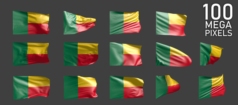14 different pictures of Benin flag isolated on grey background - 3D illustration of object