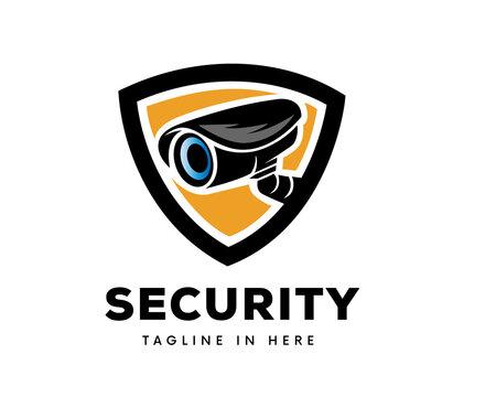 Security camera protection logo symbol design illustration