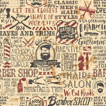 Grunge barber shop vintage elements vector seamless pattern