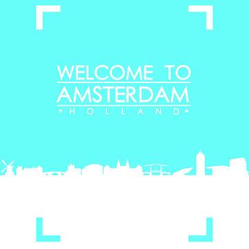Welcome to Amsterdam Skyline City Flyer Design Vector art.