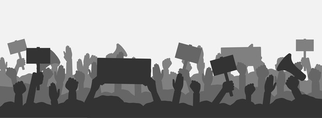 Crowd of people protesters. Silhouettes of protesting people with banners, megaphones and raised up hands and fist. Concept of fight for your rights, revolution or protest. Vector illustration.