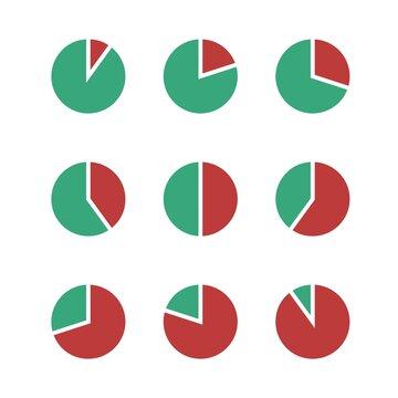 Set of pie charts percentage. Pie graph diagram, circle round chart.