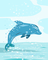 Blue Dolphin jumps out of the water